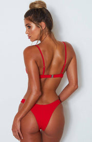 Tie Knot Push Up Padded Bikini Set - Red