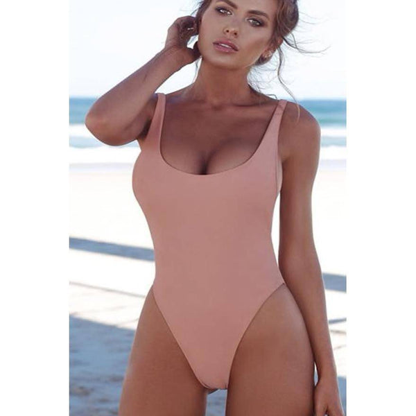 Pink Halter Straps U Neck One Piece