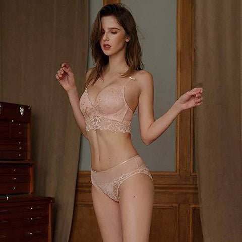 Lace Pushup Floral Wirefree Bra and Panties Set - Pink