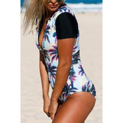 Sunset Zip Front Half Sleeve One Piece Swimsuit - E11even Fashion