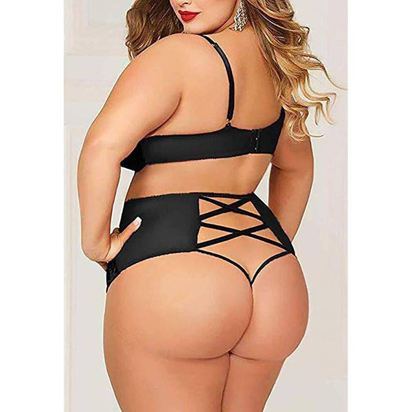 Plus Size Crushed Velvet Mesh Bralette and Panty Set - Black