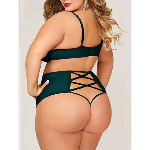 Plus Size Crushed Velvet Mesh Bralette and Panty Set - Green - E11even Fashion