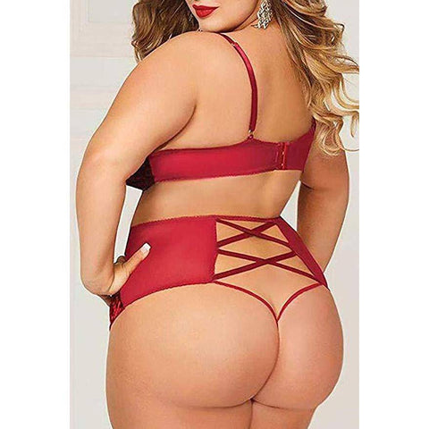 Plus Size Crushed Velvet Mesh Bralette and Panty Set - Red