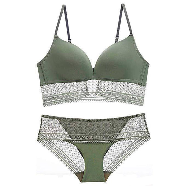 Smooth Embroidered Wire-Free Bra and Panty Set - Green