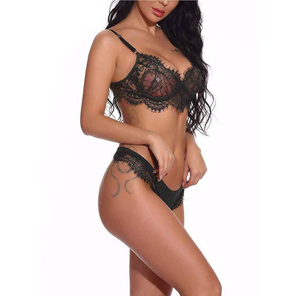Mini Teddy Lace Bra and Panty Set - Black