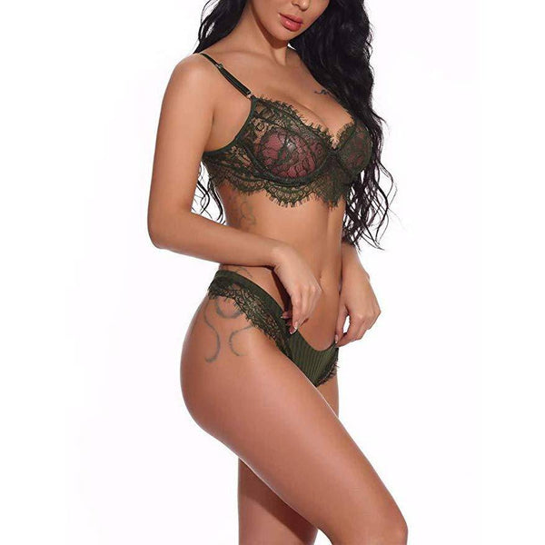 Mini Teddy Lace Bra and Panty Set - Green
