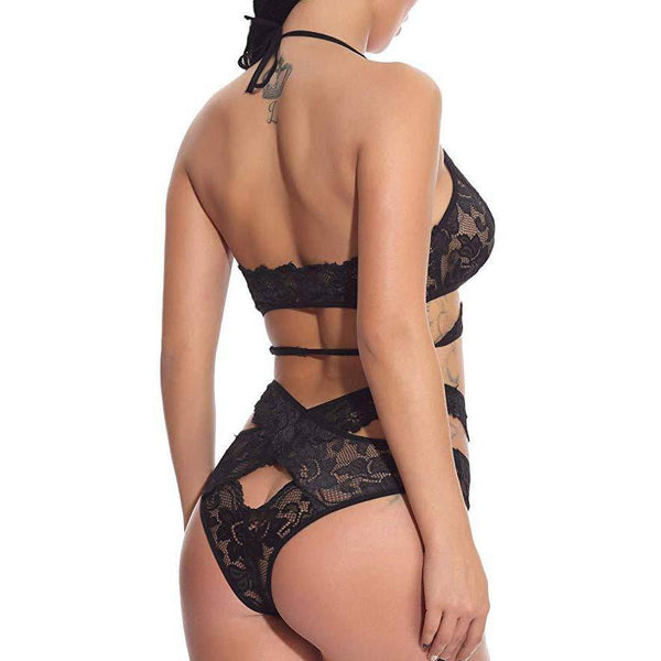 Cutout Floral Lace Bralette and Panty Set - Black