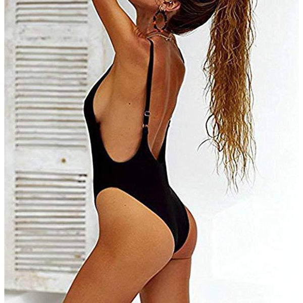 Black Halter Straps U Neck One Piece