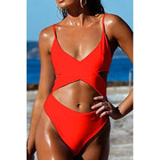 Criss Cross High Waisted Cut Out Swimsuit - Orange