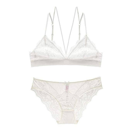 Embroidered Unpadded Bra and Panty Set - Pink