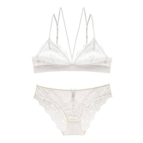 Lace Triangle Unlined Wirefree Bra and Panties Set - White