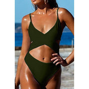 Criss Cross High Waisted Cut Out Swimsuit - Army Green