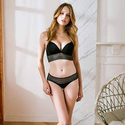 Smooth Embroidered Wire-Free Bra and Panty Set - Black - E11even Fashion