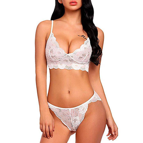 Strappy Lace Bralette Lingerie Set - White