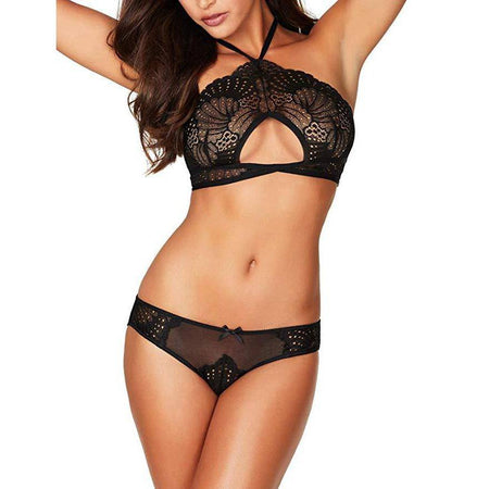 Floral Lace Cups Lingerie Set - Purple
