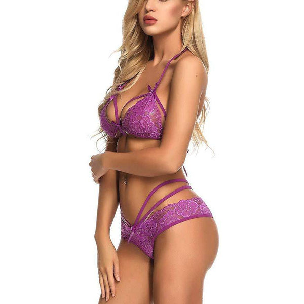 Lace Bra and Panty Strap Mesh Set - Purple