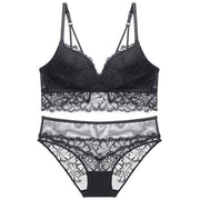 Lace Pushup Floral Wirefree Bra and Panties Set - Black - E11even Fashion