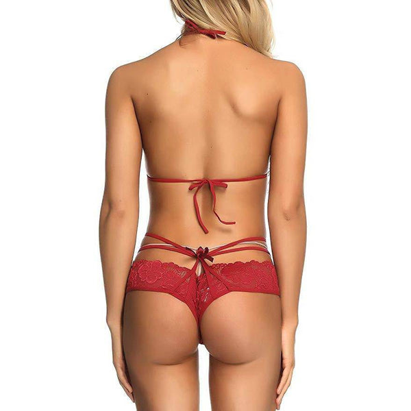Lace Bra and Panty Strap Mesh Set - Red