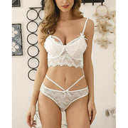 Stretchy Floral Lace Bra and Panties Set - White