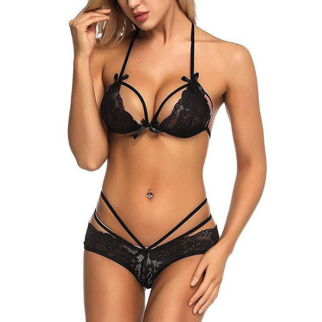 Lace Bra and Panty Strap Mesh Set - Black