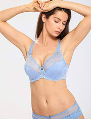 Lace Non Padded Minimizer Bras - Mystery Blue
