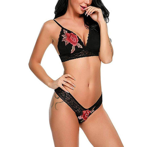 Embroidered Unpadded Bra and Panty Set - Black