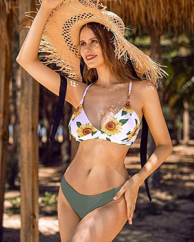 Women's Sunflower Bathing Suit Lace Up Bikini Set - E11even Fashion