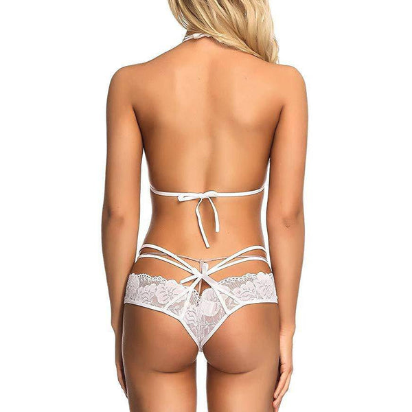 Lace Bra and Panty Strap Mesh Set - White
