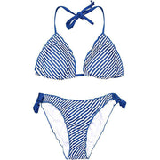 Stripe Halter Scalloped Tie Bikini Set