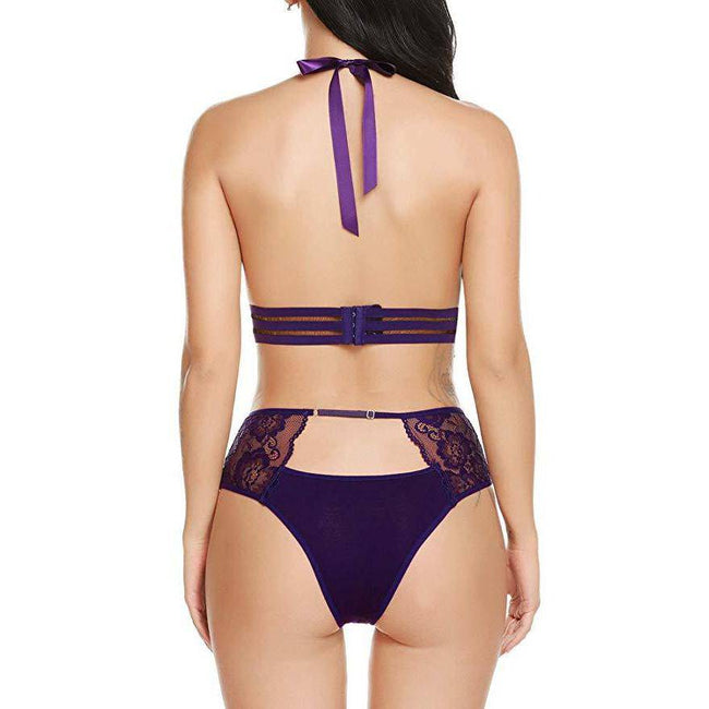 Deep V Neck Bralette High Waist Panty Set - Purple