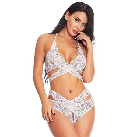 High Waisted Keyhole Lace Bralette Set - Navy Blue