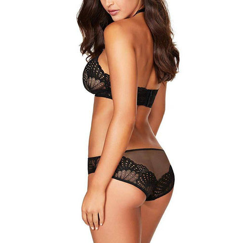 Scalloped Lace Bridal Bra and Panty Sets - Black