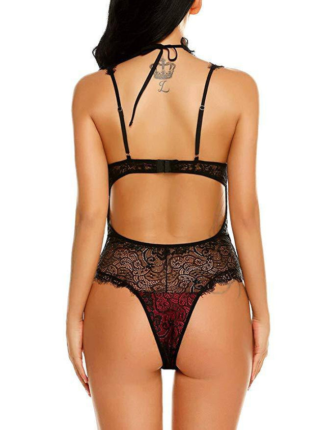 Eyelash Lace W/ Choker Lingerie Bodysuit - Red
