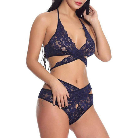 Cutout Floral Lace Bralette and Panty Set - Navy Blue