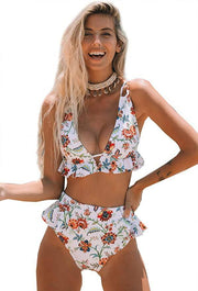 High Waist White Floral Ruffle V Neck Bikini Set