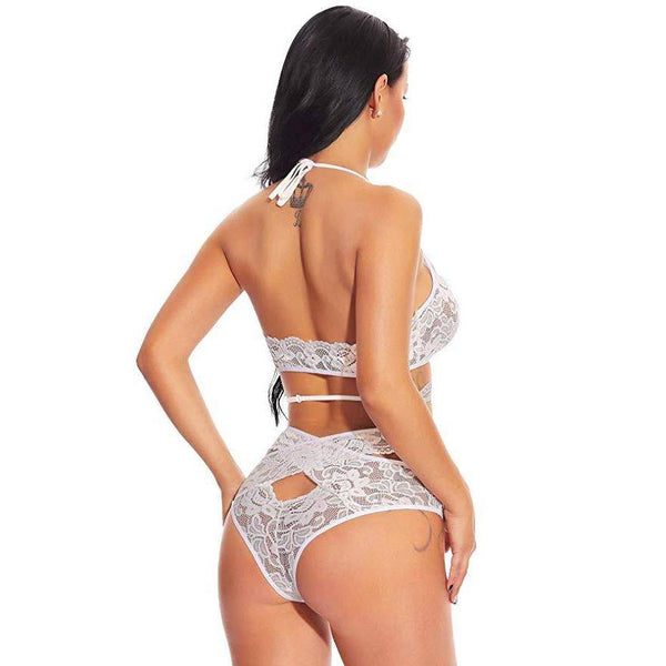 Cutout Floral Lace Bralette and Panty Set - White