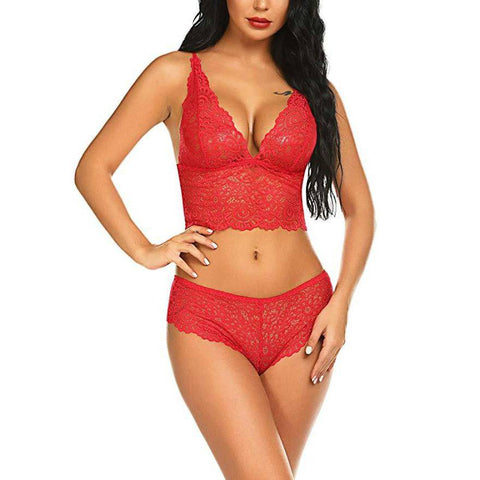 V NecK Lace Lingerie Set - Red - E11even Fashion