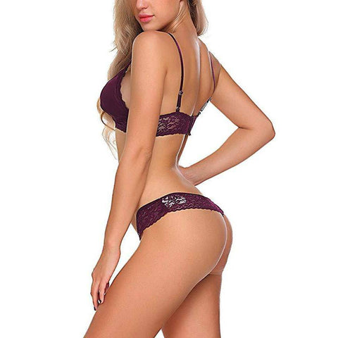 Embroidered Unpadded Bra and Panty Set - Red