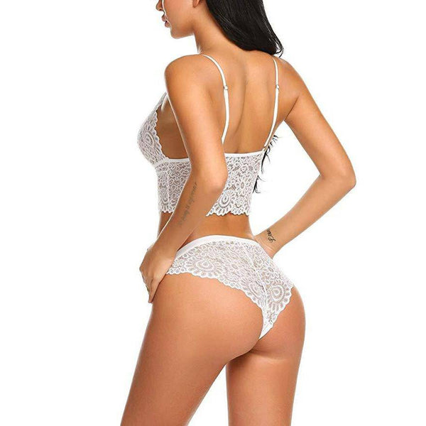 V NecK Lace Lingerie Set - White