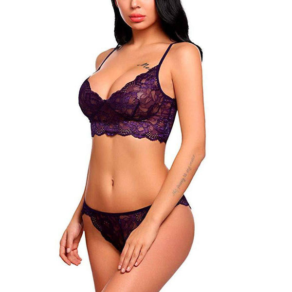 Strappy Lace Bralette Lingerie Set - Purple