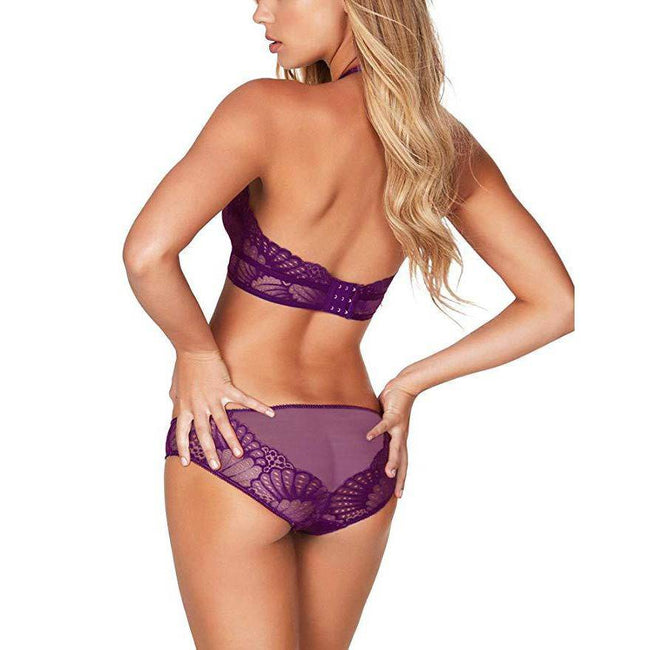 Scalloped Lace Bridal Bra and Panty Sets - Purple