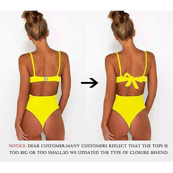 Criss Cross High Waisted Cut Out Swimsuit - Yellow