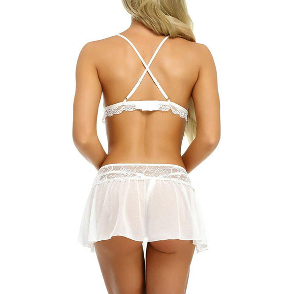 Lace Bralette Mini Skirt with Crotchless G-String Sets