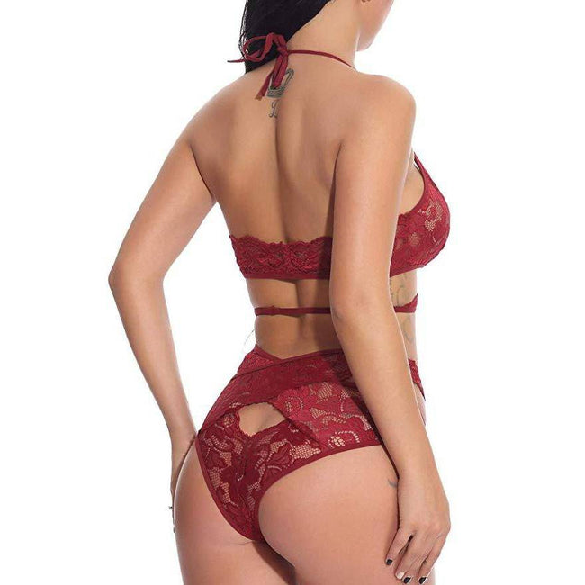 Cutout Floral Lace Bralette and Panty Set - Red