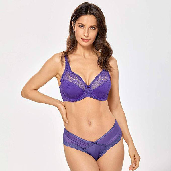 Lace Non Padded Minimizer Bras - Purple