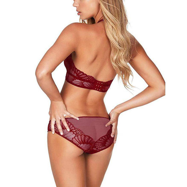 Scalloped Lace Bridal Bra and Panty Sets - Wine Red