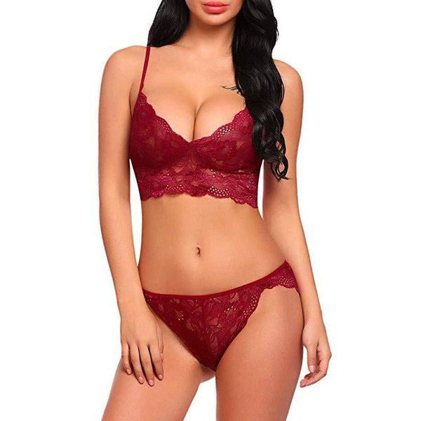 Strappy Lace Bralette Lingerie Set - Dark Red