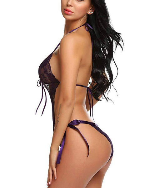 Deep V Lace Lingerie Bodysuit - Purple