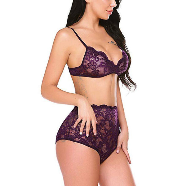 Floral Lace Bralette High Waist Panty Set - Purple