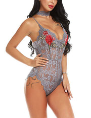 Embroidered Lace W/ Choker Lingerie Bodysuit - Gray